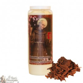 Bougie de neuvaine Saint Bernardin de Sienne parfumée au bois de santal