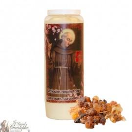 Novena Candle Saint Bernardine of Siena scented with myrrh