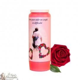 Bougie de neuvaine - Aider un couple en difficulté parfumée à la rose