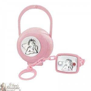 Teat hook and box with angel medal - pink