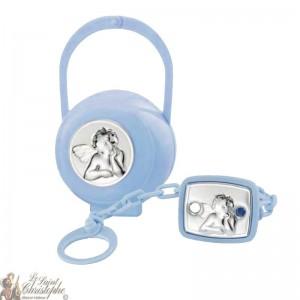 Teat hook and box with angel medal - blue
