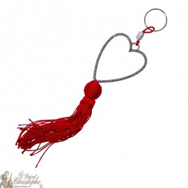 Llavero corazón de plata corazón rojo pompón