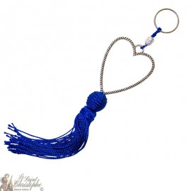 Silver plated heart keychain with blue tassel