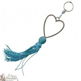 Schlüsselanhänger Herz Silber Herz Cyan Quaste