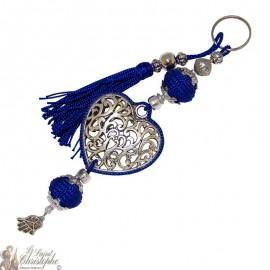 Schlüsselanhänger Herz Arabeske silberblau Pompon