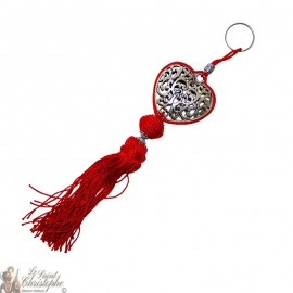Keychain heart arabesque silver heart red pompom