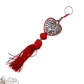 Llavero corazón arabesco plateado rojo pompón