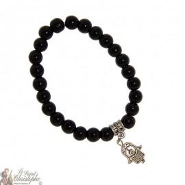 Armband mit schwarzen Perlen und Fatma Hand - glänzend