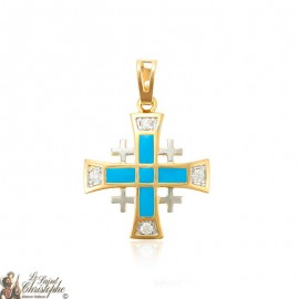 Pendant gold-plated Jerusalem cross crystals and blue enamel
