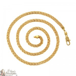 24K gold-plated double interlaced links chain 60 cm