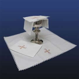 Manuterge Complete set of altar linens - Gold and bronze crosses