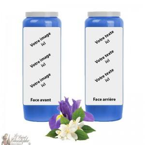 Novena Kerze blau Jasmin-Iris Duft - individuell gestaltbar