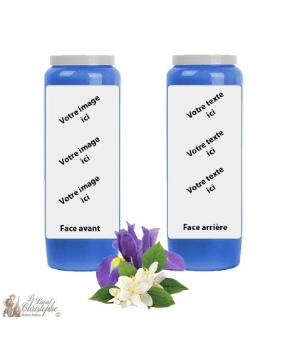 Novena candle scented with Jasmine and Iris - customizable