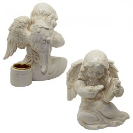 Candlestick angel white ceramic - lyre
