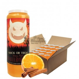 Halloween orange-cinnamon scented novena candles Trick-Treat carton 20 pcs