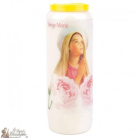 Bougie Neuvaine  à la Vierge Marie modèle 1 - prière Français