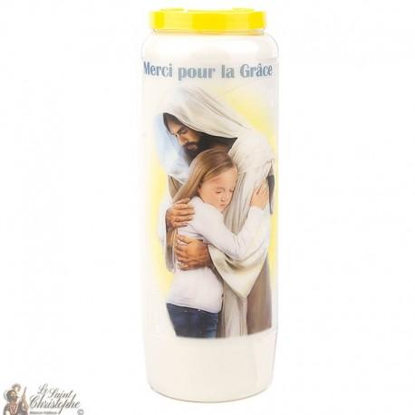 Bougie Neuvaine  Merci pour la Grâce obtenue - prière Français