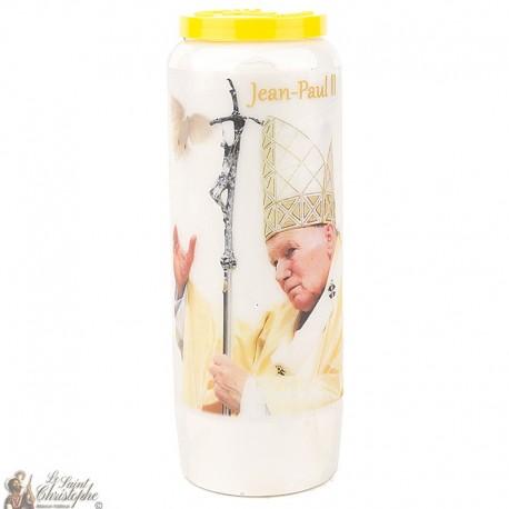 Bougie Neuvaine  à Saint Jean Paul II - colombe - prière Français
