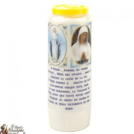 Bougie Neuvaine Vierge Banneux et Miraculeuse prière Français