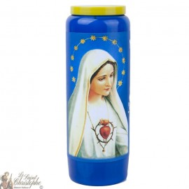 Blue Novena Candle to Our Lady of Fatima - French Prayer