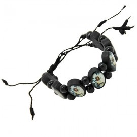 Black wooden bracelet with the Virgin of Banneux N.D