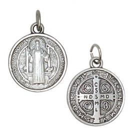 Saint Benedict medal silver plated metal - 1,8 cm