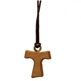 Necklace with cross Tau in olive wood