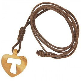 Necklace with cross heart Tau in olive wood
