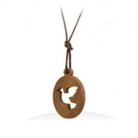Necklace with dove pendant in olive wood