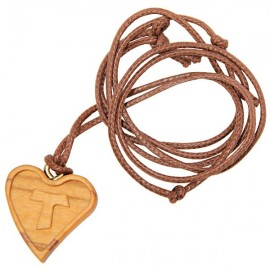 Necklace pendant heart cross Tau cross in olive wood