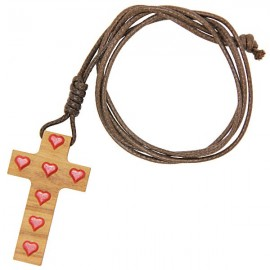 Olive wood cross with red hearts and cord