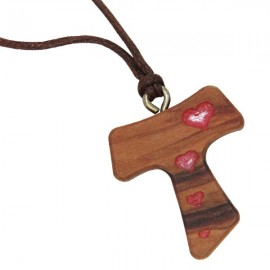 necklace pendant cross Tau with red hearts in olive wood