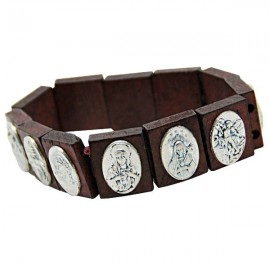Bracelet Holy Guards wood and medals