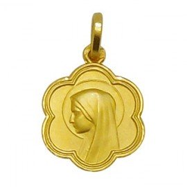 Gold plated medal of the Virgin Mary of Lourdes