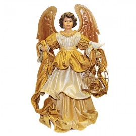 Angel golden dress with bird cage and dove - 42 cm