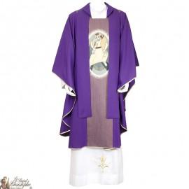 Chasuble pour prêtre brodée avec la Miséricorde