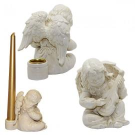 Portacandele angelo in ceramica bianca - chitarra