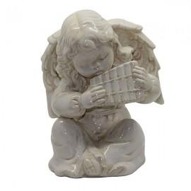 Candlestick angel white ceramic - panpipes