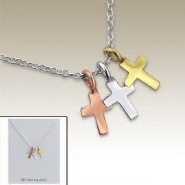 Necklace small crosses three colors - Silver 925