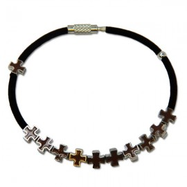 Brown metal cross bracelet
