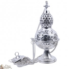 Carved silver incense burner with cross - hops