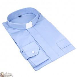 Camicia prete azzurra maniche lunghe