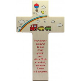 Wooden cross with angel terracotta child's room