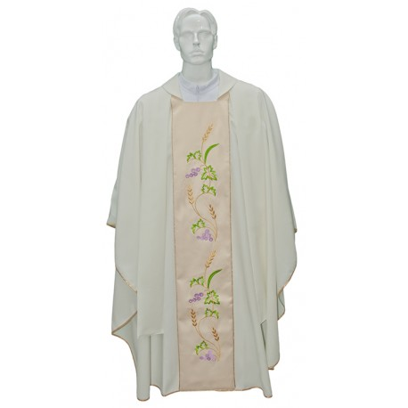 Chasuble with cream embroidered stole