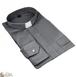 Priest shirt dark grey short sleeves