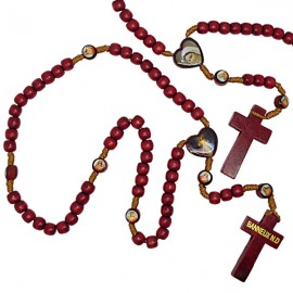 Wooden rosary with pictures of the Virgin of Banneux N.D