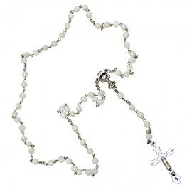 White rosary in real mother-of-pearl