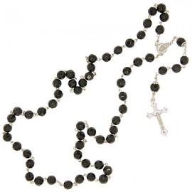 Black beads faceted rosary