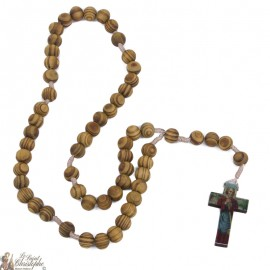 Rosary-Merciful Christ in natural olive wood