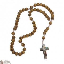Padre Pio Rosary in natural olive wood
